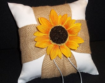 Burlap & Sunflower Accent  Ivory  or White Rustic Wedding Ring Bearer Pillow