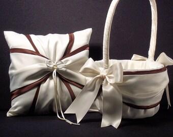 Chocolate Brown & Ivory or White Wedding Ring Bearer Pillow Flower Girl Basket 2 Piece Set