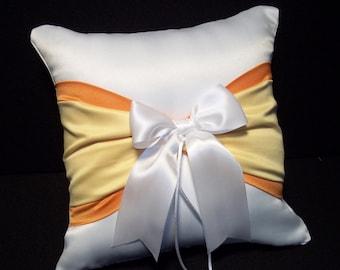 Tangerine Orange, Lemon Yellow & White or Ivory  Wedding Ring Bearer Pillow