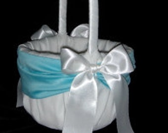 White or Ivory   Wedding Flower Girl Basket Aqua Pool Blue Accent