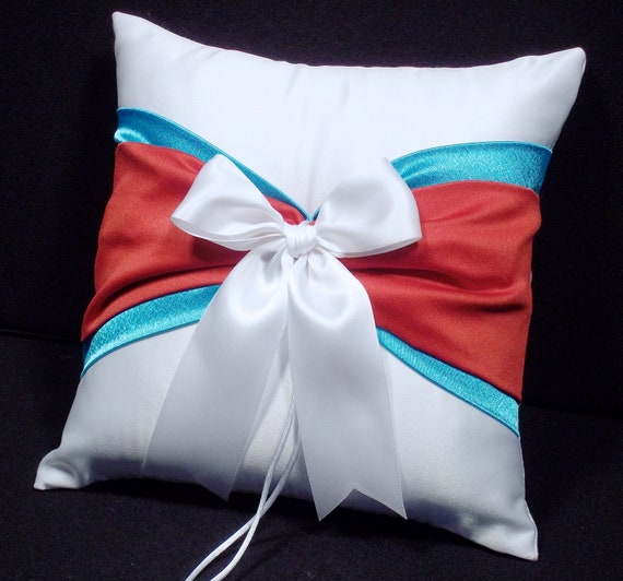 Turquoise & Red  White or Ivory  Wedding Ring Bearer Pillow