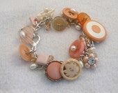 peach, apricot color vintage buttoms bracelet with freshwater pearls and Chinese crystals