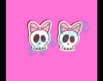 Deadly Deadsie TM Skull Bow Studs Stud Skull Earrings Posts Skulls Pink