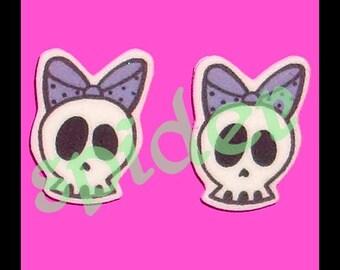 Deadly Deadsie TM Skull Bow Studs Stud Skull Earrings Posts Skulls Lavender
