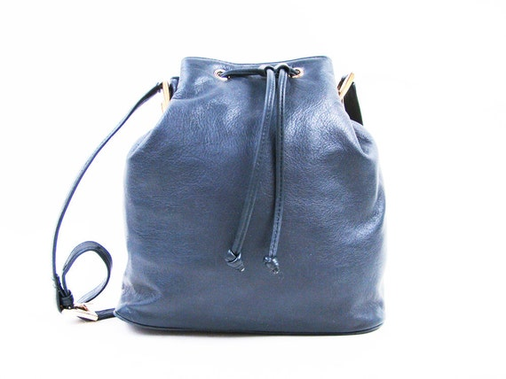 Vintage Navy Blue Leather Drawstring Bucket Bag // Medium