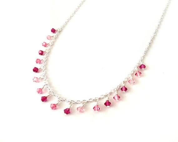 Swarovski short necklace pink rose fuschia crystals chain elegant ooak