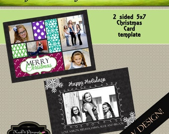 INSTANT DOWNLOAD Christmas card template Deck the Halls 5x7 psd file , customized , personalized Holiday Card