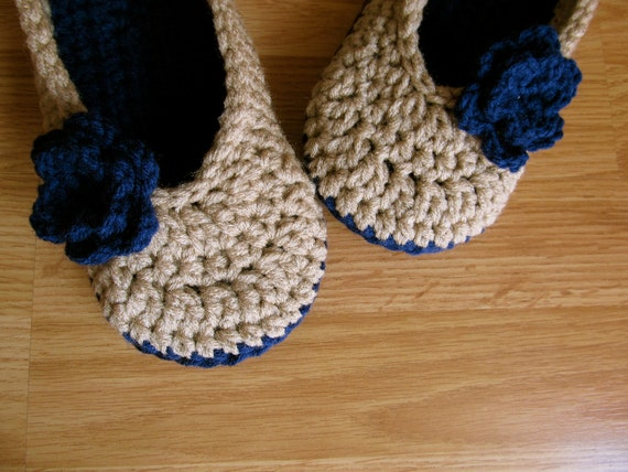 Womens Crochet House Slippers- Linen and Soft Navy