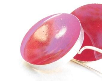 Red Earrings Hot Red Circle Silver Earrings