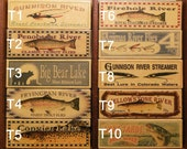 Fishing lure boxes personalized lake cabin lodge decor, with trout