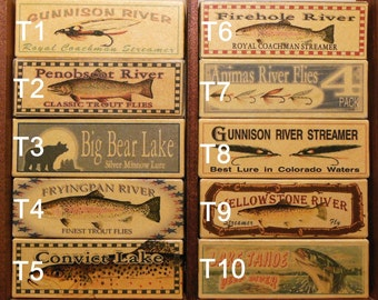 Four Personalized Fishing Lure Boxes Lake Cabin Lodge