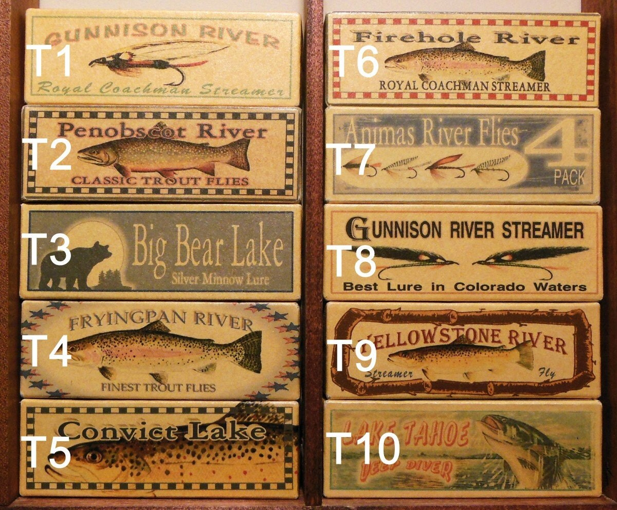 Fishing Lure Boxes Personalized Lake Cabin Lodge Decor With