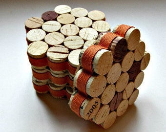 Honeycomb Wine Cork Coasters with Orange Ribbon - Set Of Four - Rustic Decor, Housewarming, Hostess, Wedding Gift