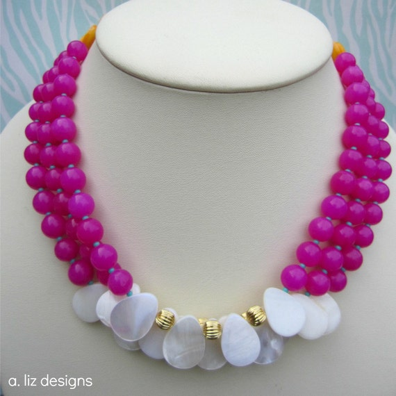 Fushia and Golden Yellow Necklace