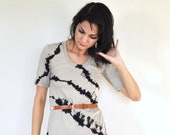 Hand Dyed Black and Taupe Tee Dress - Striped River Rock