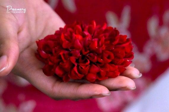 Cardinal Red Pom Pom Flower Hair Clip