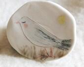 """SALE Porcelain brooch / Small wall piece 11 : """"Bird under the moonlight"""" handmade original"""