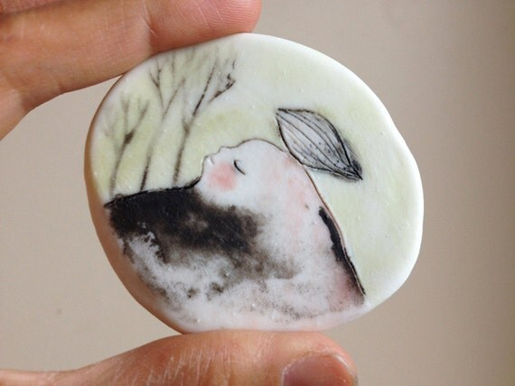 "Porcelain brooch / Small wall piece 16 : ""Sleeping in the woods"" handmade original painting"
