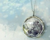 Silver Moon Necklace. Sterling Silver Rollo Chain. Full Moon Jewelry.
