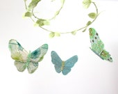 Nursery Mobile Butterfly Ballet - handmade fabric mobile for nursery decor in mint green, aquamarine, turquoise and white