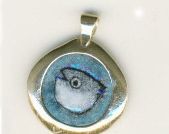 Hand Painted Enamel Jewelry Coin Pendant Frantic Fish Dime Size