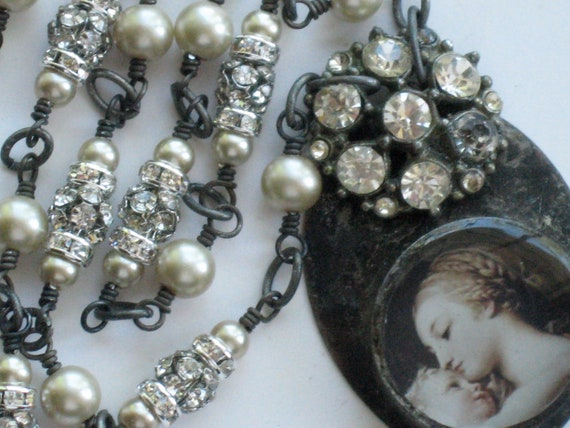 Madonna and Child Vintage Rhinestone Button Soldered Necklace
