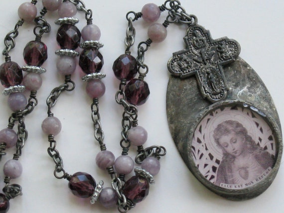French Holy Card Necklace with Religious Medal Soldered Pendant