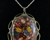 Gorgeous Victorian Styled Enamel Flower Pendant Necklace Jewelry