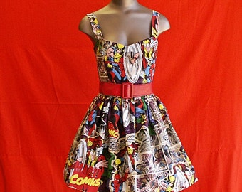 Comic Strip Print Dress Short and Sweet, Marvel Comics Size: Medium