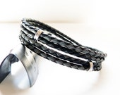 Duet - Double Wrap Leather Bracelet for Men, Women - Sterling Silver Braided Leather Bracelet - SivaniAccessories