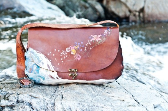 Waves to Flowers Custom Leather Purse