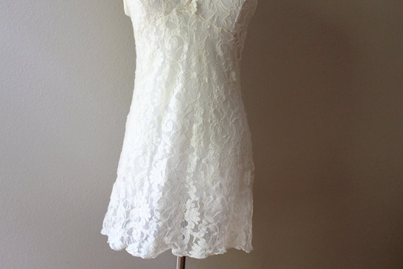 Vintage 90s White Lace Dress // Seductively Sheer SMALL