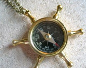 HALF OFF ship wheel compass necklace nautical jewelry