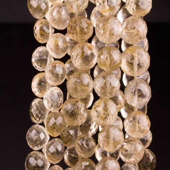 Golden Rutilated Quartz Briolettes, Onions, Candy Kisses, Golden Needles  - 1/3 Strand  - 6x6 to 7x7mm