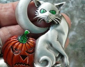 Halloween Pin Brooch Cat Moon Pumpkin, signed JJ
