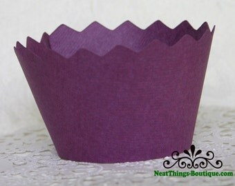 Purple Zig Zag Cupcake Wrappers Wraps 12