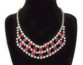 Vintage 1950's Cranberry Red & Crystal Clear Rhinestone Necklace 5 Tiers of Rhinestones WOW - PinkyAGoGo