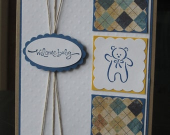 Welcome New Baby Boy handmade greeting Card