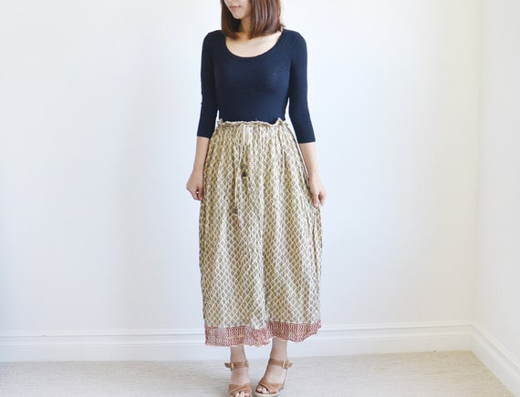 Vintage black and ivory cotton maxi skirt.