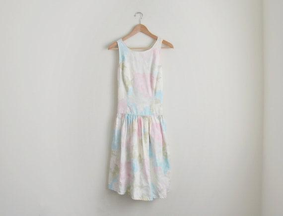 Vintage pastel floral cotton dress
