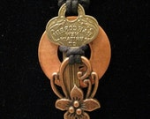 urban artifact necklace - vintage Corbin key, copper washer, copper floral jewelry component