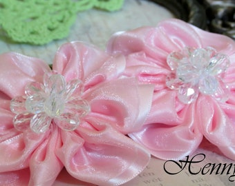 BRAND NEW: 2 pcs RossAnn Silk Fabric Flowers Millinery with Beads Center Bridal Sashes, Fascinator or Hat Design Appliques - PINK