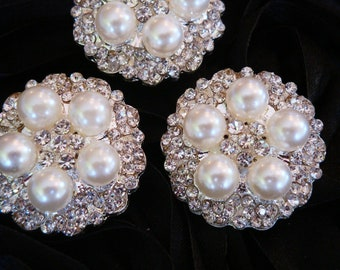 6 pcs - 26mm Silver Metal Plated Rhinestone Brooches Pins with Pearls Center - wedding / hair / dress / garment accessories