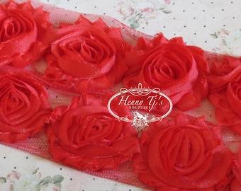 1 one yard  Shiny Bright  RED 2 1/2 inch- Chiffon Shabby Rose Trim, Hair Bow. Chiffon Rossettes
