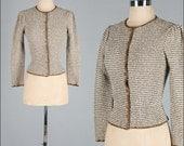 Vintage 1980s Sweater . Cardigan . Ivory . Green . Oscar de la Renta . S/M . 2433