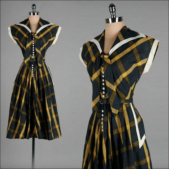 Vintage 1940s Dress . Blue . Green . Sailor Collar . Toni Todd . Day Dress . L . 2056