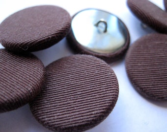 Chocolate Brown Vintage Buttons Set of 8 Fabric Covered Metal  7/8 inch UNUSED
