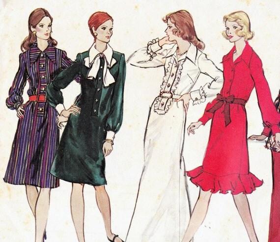 70s Vintage Sewing Pattern Vogue 2749 Dresses Size 12 Bust 34