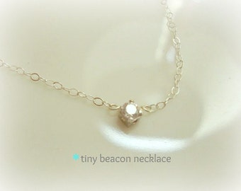 beacon - very tiny faceted cubic zirconium gem - sterling silver/or 14k gold filled chain - dainty bridal jewelry