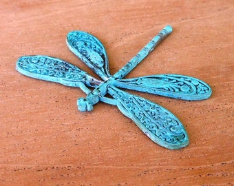 large DRAGONFLY pendant charm, VERDIGRIS patina 1 pc